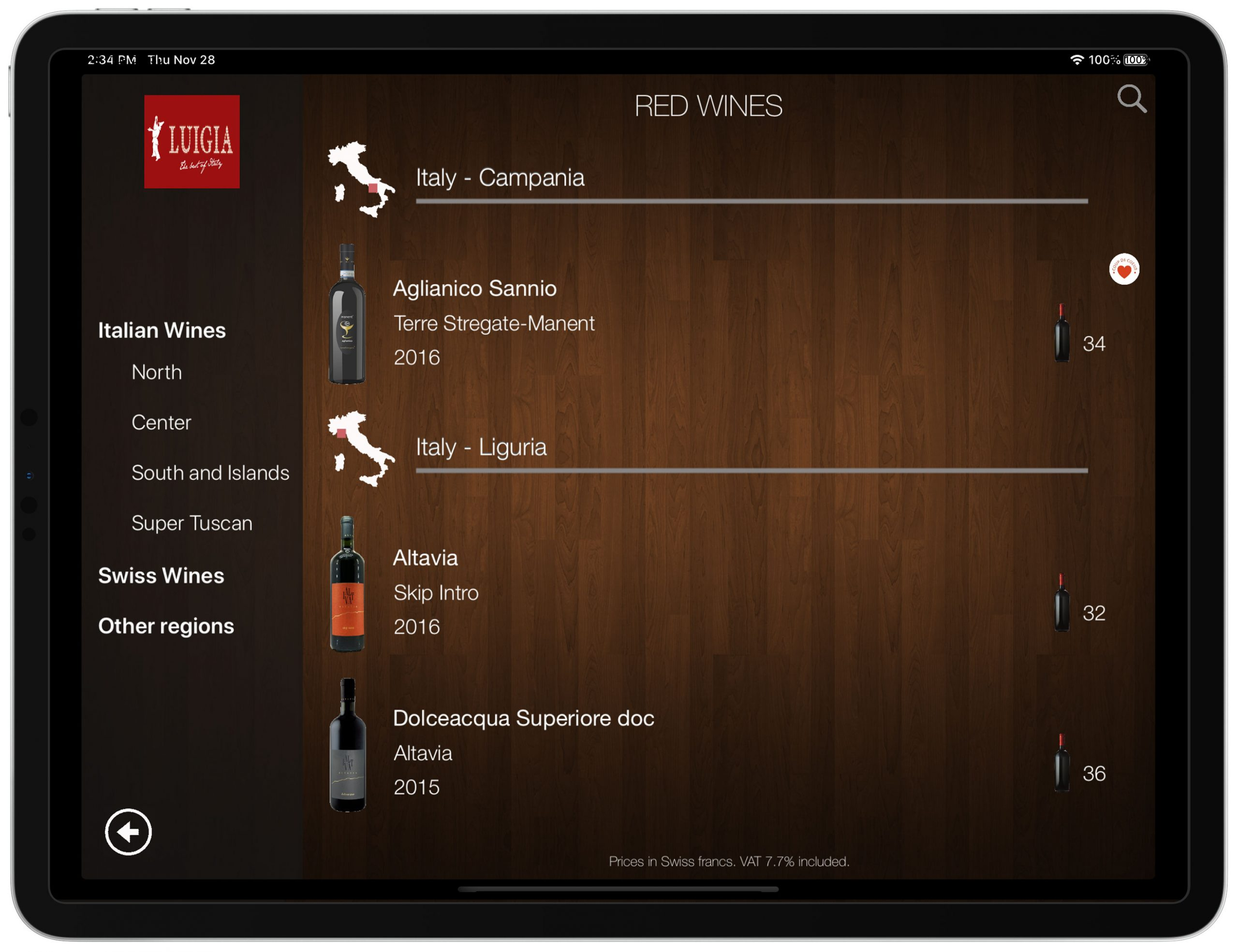 Wine list iPad Italian Restaurant LUIGIA