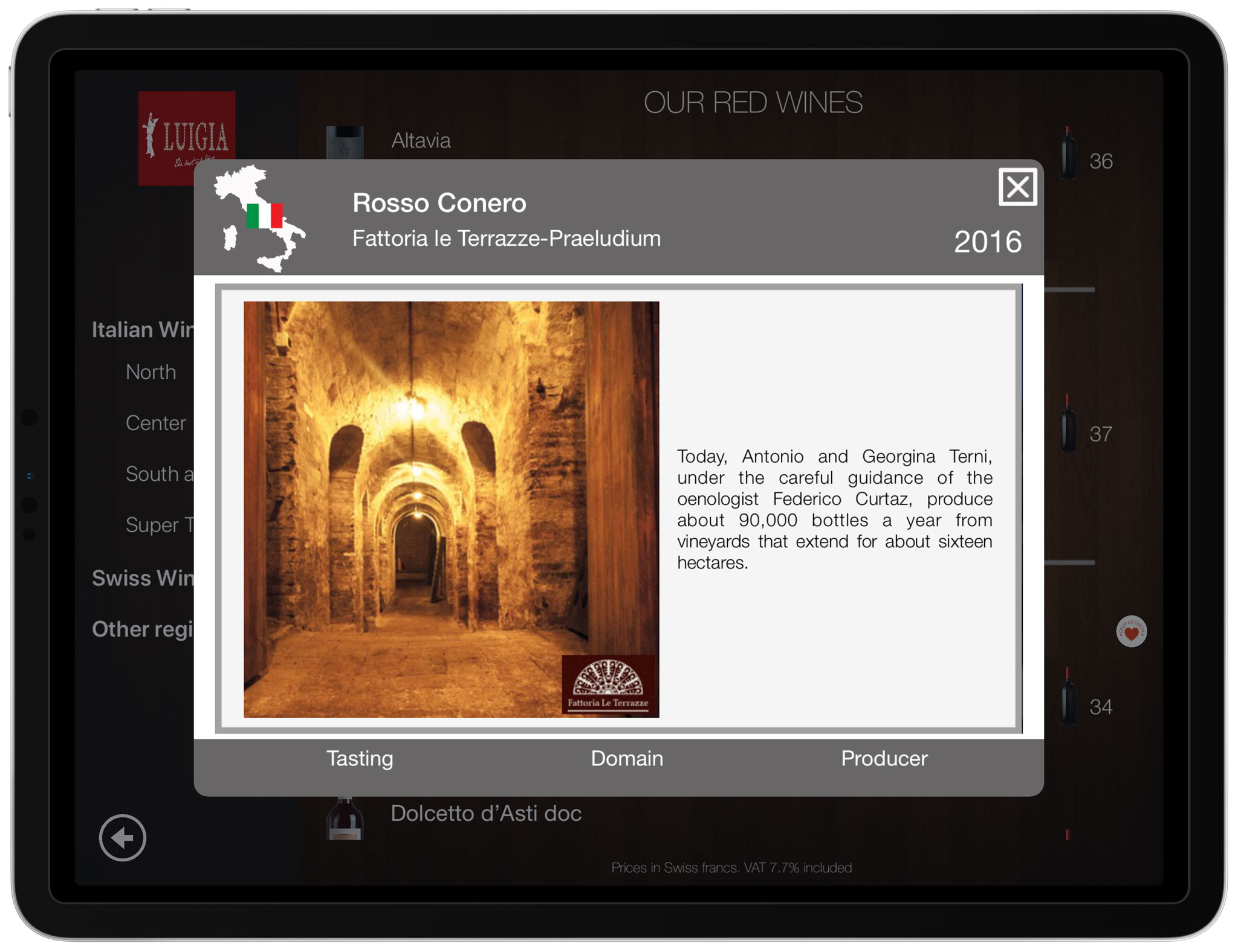 Wine producer description and photo iPad italian restaurant