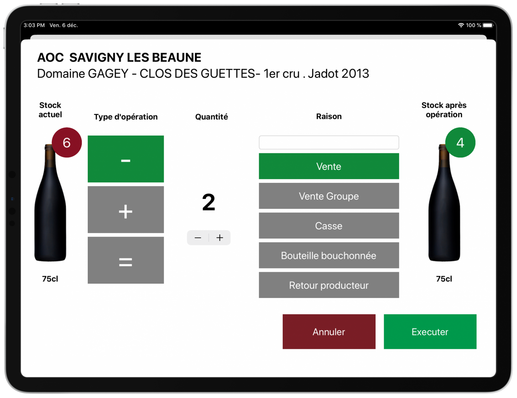 Gestion de stock operations vins iPad